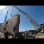 flipping a tug boat hull