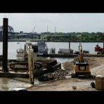 Liebherr 994 & Cat 349 removing Indiana causeway