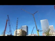 Omni hotel: overview, tower cranes going up