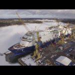 Scanclimber H65 series construction hoists used for ship building at Meyer Turku shipyard