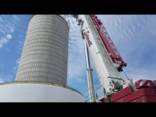 Steretts ltm1250 working on a water tower